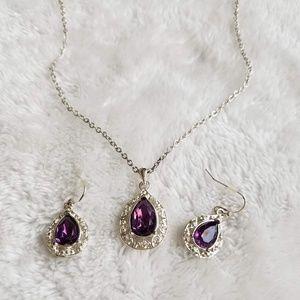 Jewelry - Boutique Purple Necklace Earrings Set, LIKE NEW